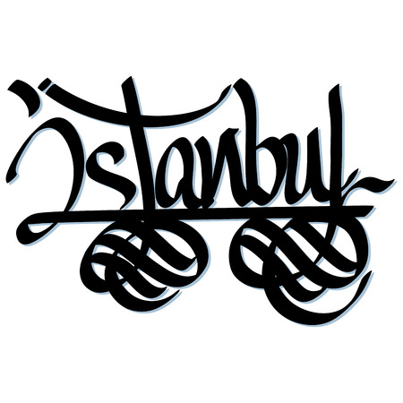 Istanbul hand lettered urban typography design  Vector