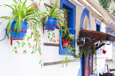 greek pot: Aegean casa esterno Archivio Fotografico