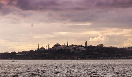 Istanbul silhouette evening scene photo