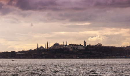 constantinople: Istanbul silhouette evening scene