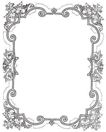 baroque border: Ancient style engraving of a vintage frame with floral decorations