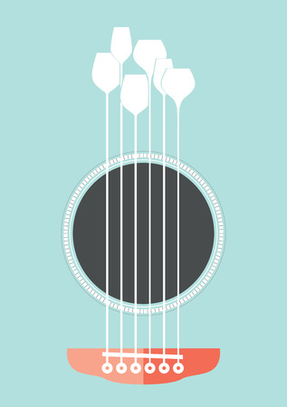 string instrument: Conceptual creative illustration with acoustic guitar hole and wine glasses as the strings