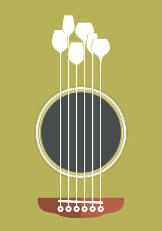 Conceptual creative illustration with acoustic guitar hole and wine glasses as the strings Vector