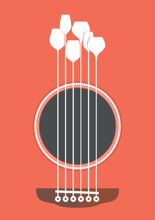 food art: Conceptual creative illustration with acoustic guitar hole and wine glasses as the strings