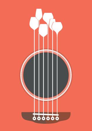 Konzeptionelle kreative Illustration mit akustischer Gitarre Loch und Weingläser als die Saiten