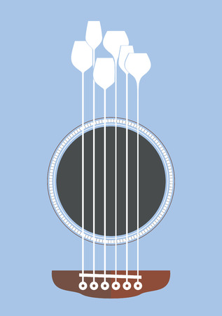 strings: Conceptual creative illustration with acoustic guitar hole and wine glasses as the strings