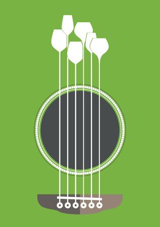guitarra acustica: Ilustración creativo conceptual con la guitarra acústica de agujero y copas de vino como las cuerdas