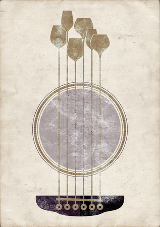 Conceptual creative illustration with acoustic guitar hole and wine glasses as the strings illustration