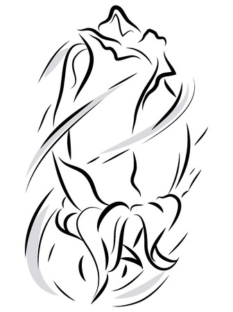 Line art illustration of a beautiful rosebud with wind effect