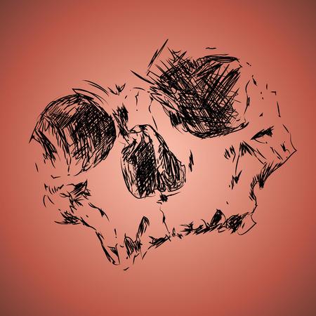 Sketchy drawing of skull 版權商用圖片