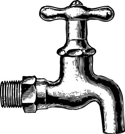 ironmongery: Vector antiguo grabado de un grifo de agua Foto de archivo