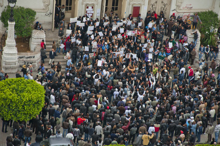 Crowd of a protest in Tunis, Tunisia Redactioneel
