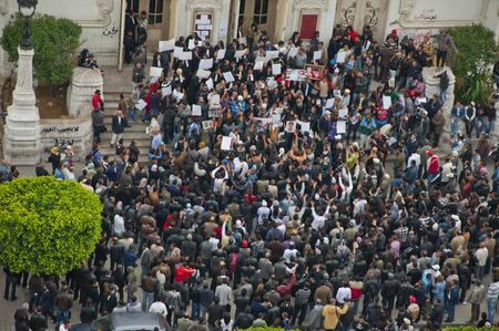 Crowd of a protest in Tunis, Tunisia Editorial