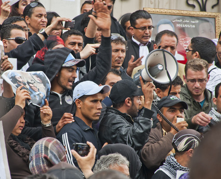 demonstrator: Crowd of a protest in Tunis, Tunisia Editorial