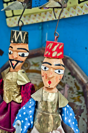 Tunisian handmade wooden puppets Stock Photo