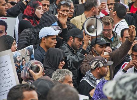 protestor: Crowd of a protest in Tunis, Tunisia Editorial