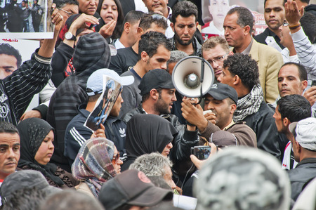 Crowd of a protest in Tunis, Tunisia Editorial
