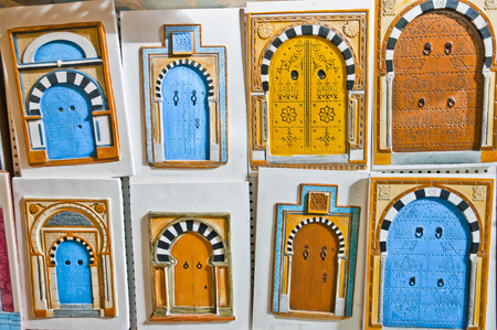 colrful: Tunisian doors, touristic sovenirs