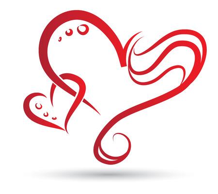 Tribal tekening van twee gestileerde harten verstrengeld Stockfoto