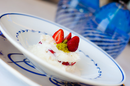 turkish dessert: Gullac, traditional Turkish dessert with thin layers of dough , milk and rose water