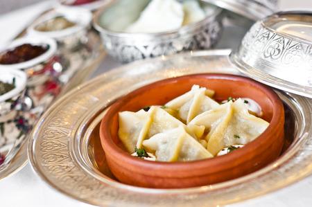 heathy diet: Manti, traditional Turkish food made with meat stuffed dough and yogurt sauce