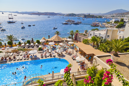 Bodrum, Turkey - September 9, 2014: Genuine Aegean-Mediterranean architecture style in Bodrum, a popular holiday destination located by the Aegean coast of Turkey Redactioneel