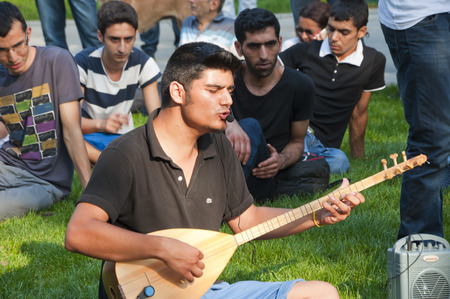 Young people making ethnic music in Gezi Park, Istanbul