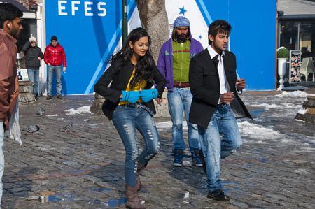 bosphorus: Bollywood film crew shooting a scene in Ortakoy, Istanbul