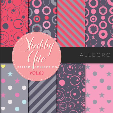 Eight shabby chic conceptual vector seamless pattern collection, perfect for wallpapers, scrapbooking, textiles, web pages and any design as a background or design element. Allegro series Illustration