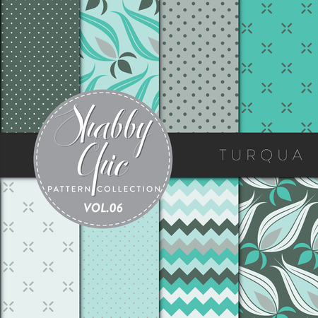 Eight shabby chic conceptual vector seamless pattern collection, perfect for wallpapers, scrapbooking, textiles, web pages and any design as a background or design element. Turqua series