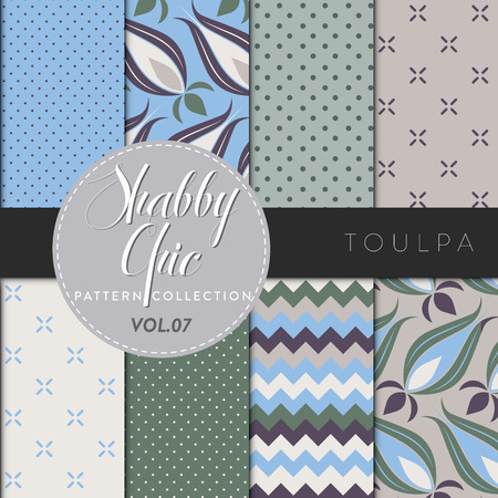 Eight shabby chic conceptual vector seamless pattern collection, perfect for wallpapers, scrapbooking, textiles, web pages and any design as a background or design element. Toulpa series Vector