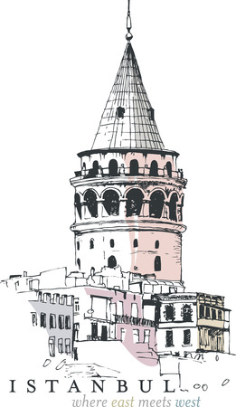 Hand drawn illustration of the Galata Tower, Istanbul, Turkey