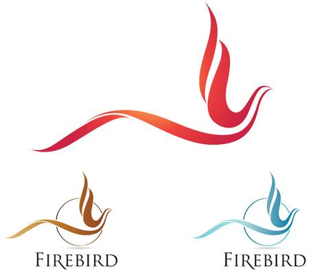 cisnes: Vector iconos firebird con opciones de 3 colores