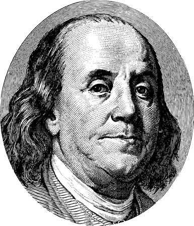 ben franklin: Benjamin Franklin portrait from US dollar bill