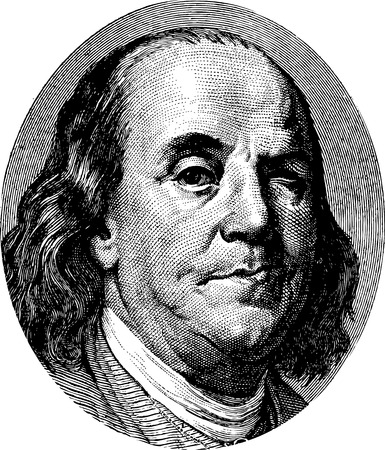 ben franklin: Benjamin Franklin winking portrait Stock Photo