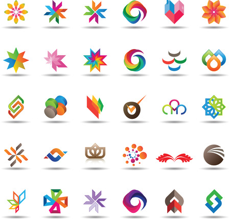 3d circle: Large et of colorful and trendy icons
