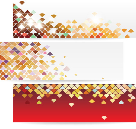 Colorful trendy banner set with modern and flashy pattern
