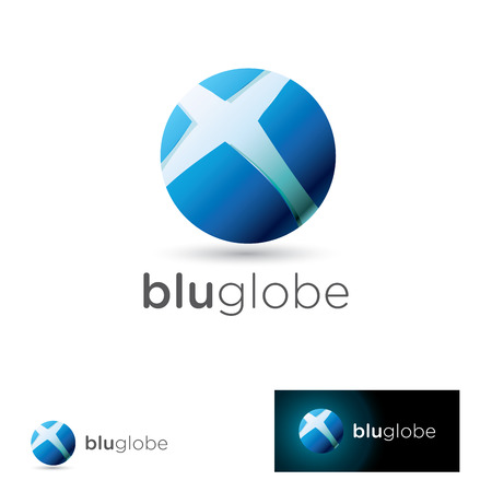 Abstract icon design with a stylized glossy blue globe