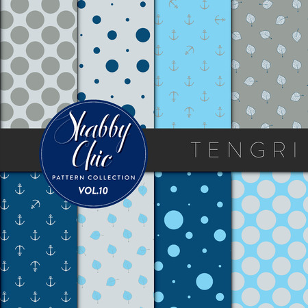 Eight shabby chic conceptual vector seamless pattern collection, perfect for wallpapers, scrapbooking, textiles, web pages and any design as a background or design element. Tengriseries Vector