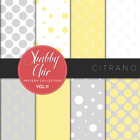 seamless tile: Eight shabby chic conceptual vector seamless pattern collection, perfect for wallpapers, scrapbooking, textiles, web pages and any design as a background or design element. Citrano series