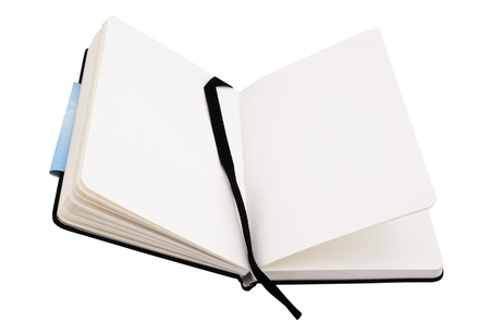 classbook: Open notebook with blank pages isolated on white