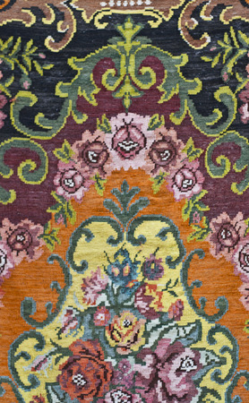 ornaments floral: Traditional Turkish carpet fragment, floral ornaments detail