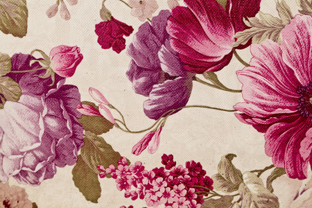 Fragment of colorful retro tapestry textile pattern with floral ornament useful as background Imagens - 36371641