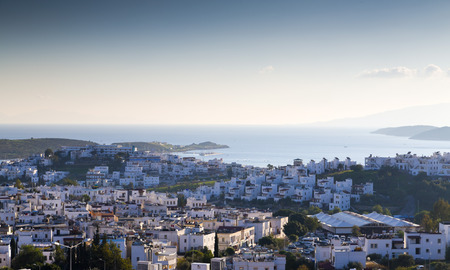 tropical beach panoramic: Bodrum, Turkey - Beautiful view from the popular holiday destination Stock Photo