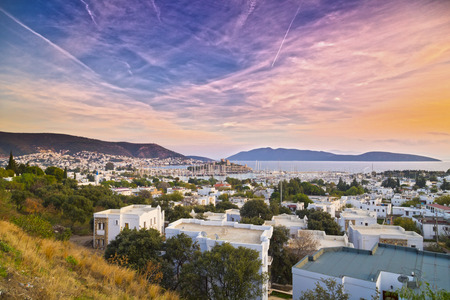 aegean sea: Sunset scene in Bodrum with the view of the ancient Bodrum Castle or the Castle of St Peter, Turkey