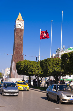safety slogan: Clock Tower ave Habib Bourguiba Ville Nouvelle Tunis Tunisia