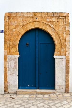arab flags: Traditional Tunisian door Stock Photo