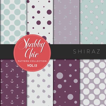 Acht shabby chic conceptuele vector naadloze patroon collectie, ideaal voor achtergronden, scrapbooking, textiel, webpagina's en elk ontwerp als achtergrond of design element. Shiraz serie