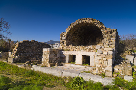 caved: Historical remains in Gumbet, Bodrum - Ruins of the Myndos Gate Stock Photo