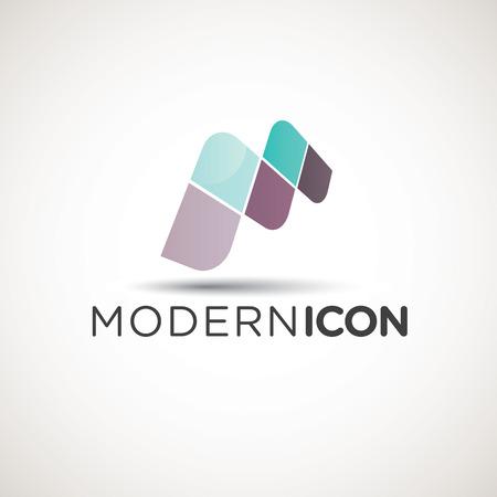 Moderne lettre M icône avec l'utilisation de texte par exemple Illustration